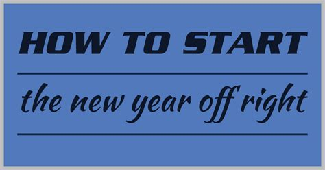 start your new year right how to start the new year right