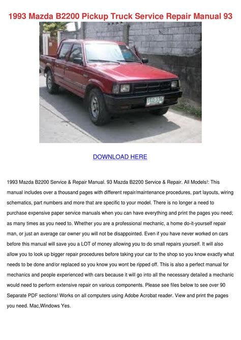 download car manuals pdf free 1993 mazda navajo engine control 1993 mazda b2200 pickup truck service repair by toby schane issuu