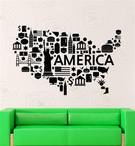 wall stickers usa wall stickers vinyl decal usa map places america coolest decor z2204 ebay