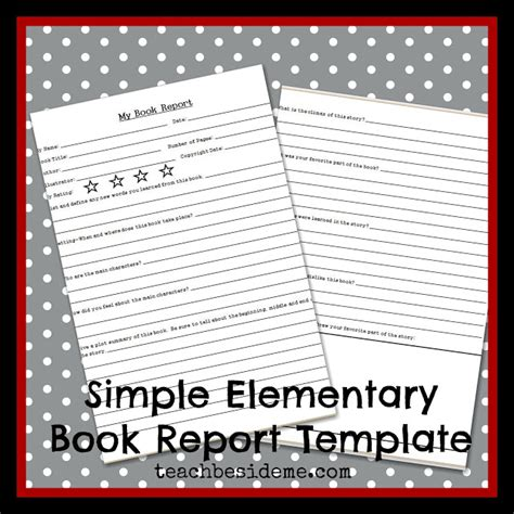 book report template elementary elementary level book report template teach beside me