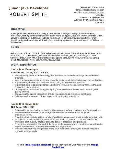 junior java developer resume samples qwikresume