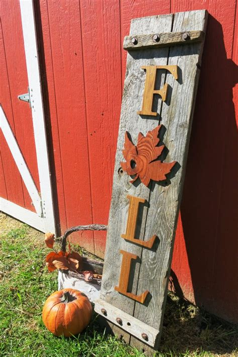 wooden fall decorations reclaimed wood fall sign porch decoration thanksgiving