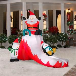 Christmas decoration lawn yard inflatable santa with penguin and