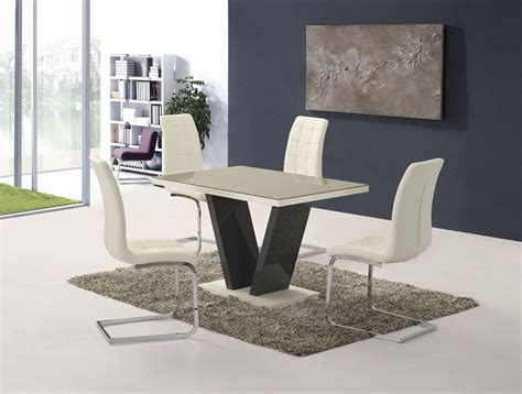 Prissilia Kitchen Set Table 160 ga vico gloss grey glass top designer 160cm dining set 4