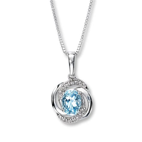 Aquamarine Jewelry by Aquamarine Necklace Accents Sterling Silver