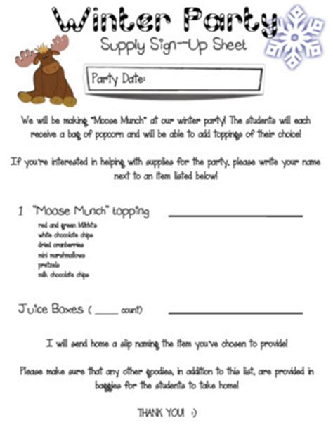 christmas party food sign up sheet mrs heeren s happenings moose munch winter sign up
