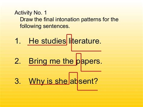 give the pattern of the following sentences final intonation patterns
