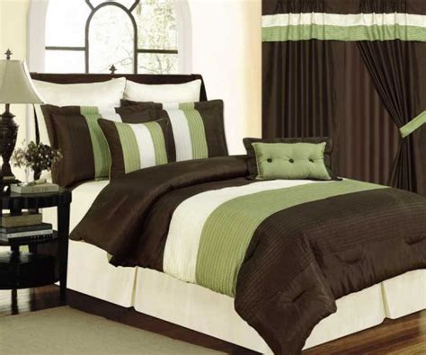 green comforter sets queen brown cream and green tones micro faux silk