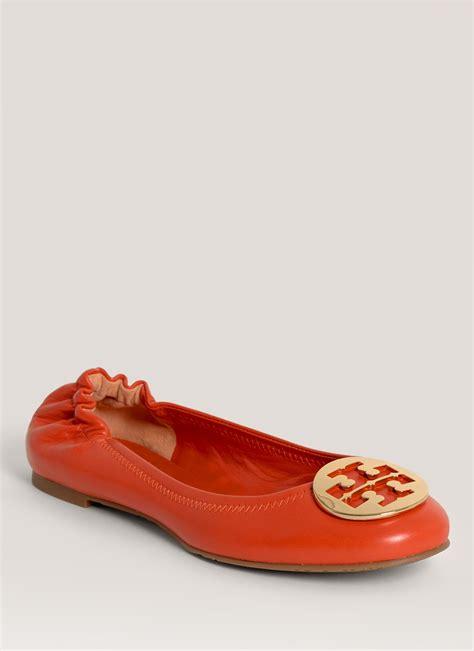 Burch Reva Orange Bnib Burch Reva Leather Ballerina Flats In Orange Lyst