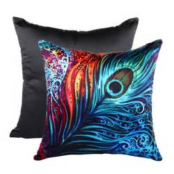 peacock feather printed cushion cover throw pillow