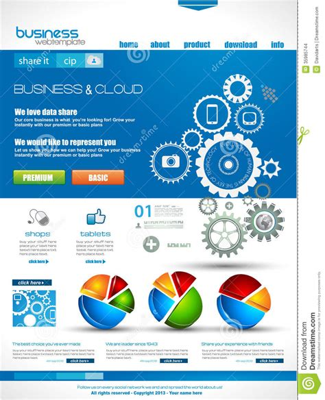 Website Template For Corporate Business And Cloud Purposes Stock Illustration Illustration Of Class Website Template