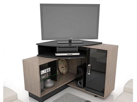 Meuble TV d'angle SALVADOR   MDF   Coloris noir et naturel