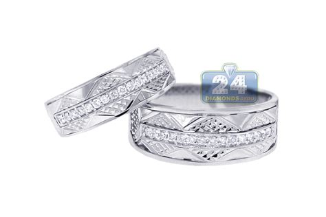 white gold wedding bands for him and vintage wedding bands set for him 18k gold 0 33ct
