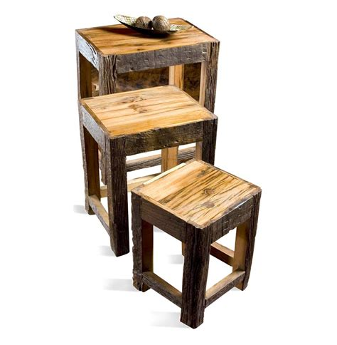 Rustic Nesting Tables fyde peak lodge cabin rustic mountain nesting tables