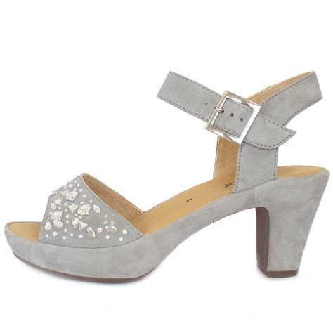 grey dress sandals gabor abe s dressy block heel grey suede sandals
