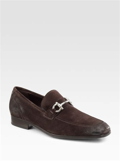 suede brown loafers ferragamo lorenzo suede loafers in brown for
