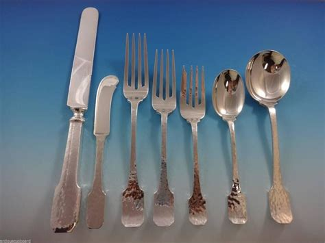 Handmade Silverware - norman hammered by shreve sterling flatware set service of
