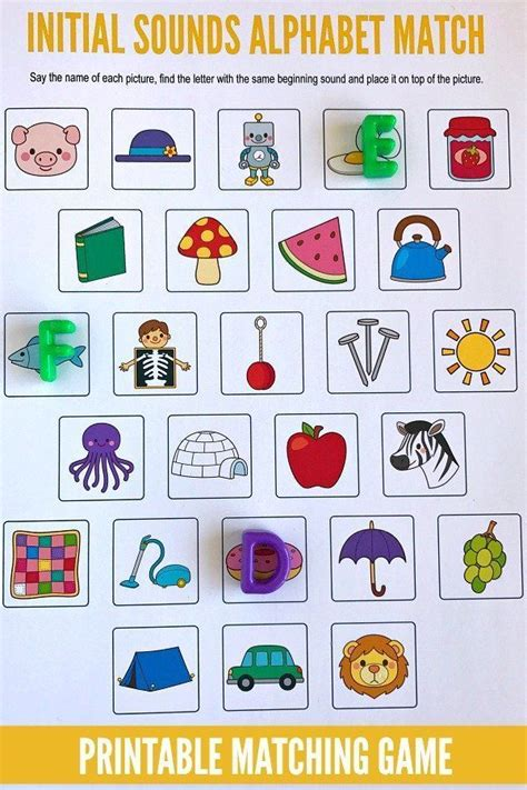 printable alphabet letters and sounds beginning sounds alphabet matching game initial sounds