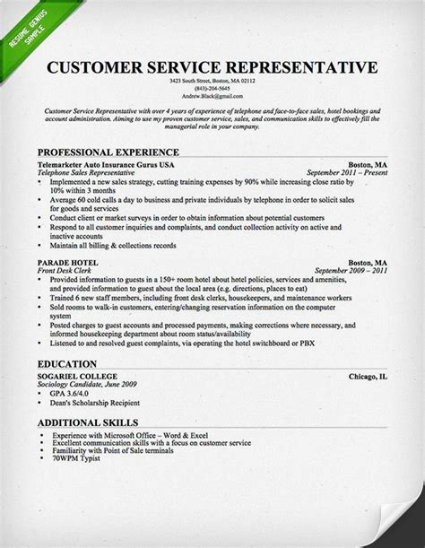 Customer Service Representative Resume by Customer Service Representative Resume Template For
