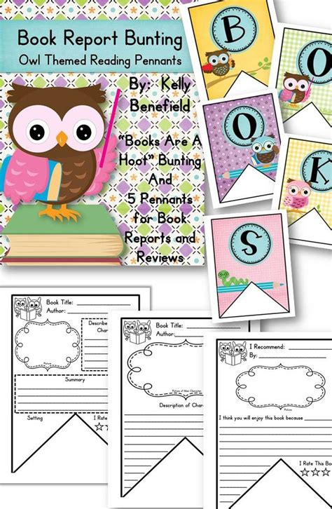 theme book report book report bunting owl themed reading pennants