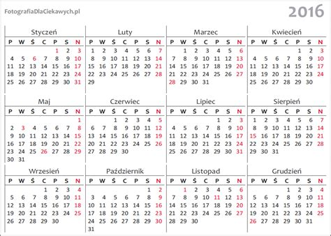 Kalendarz Z Dniami Wolnymi 2018 Kalendarz 2016 Do Pobrania
