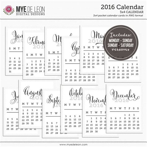 life planner printables free 2016 2016 free calendars for project life free printable