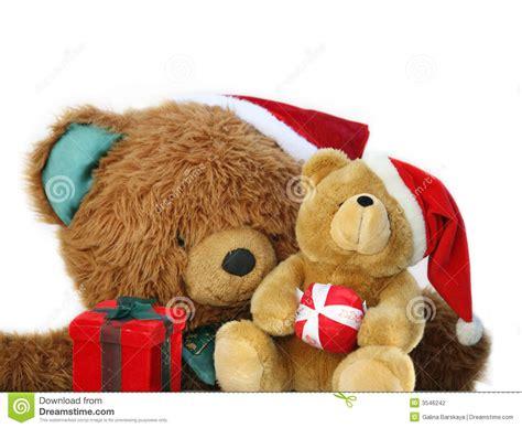 teddy bear family  christmas stock photo image  christmas presents