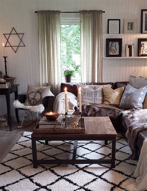 neutral living room  dark brown couches google