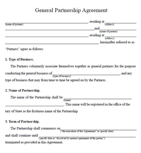 business contract agreement partnership agreement sle real estate forms