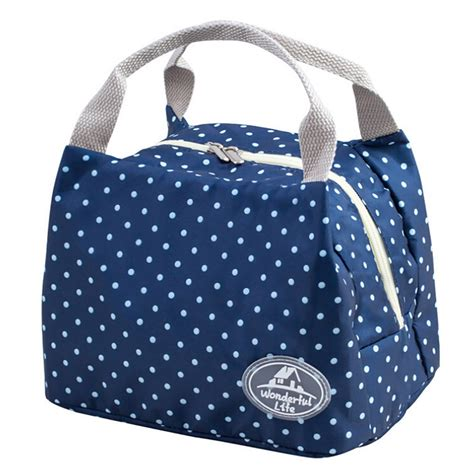 Striped Insulated Lunch Bag striped dot portable lunch bag thermal insulated cold keep