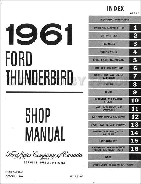 automotive repair manual 1965 ford thunderbird auto manual 1961 ford thunderbird canadian repair shop manual original