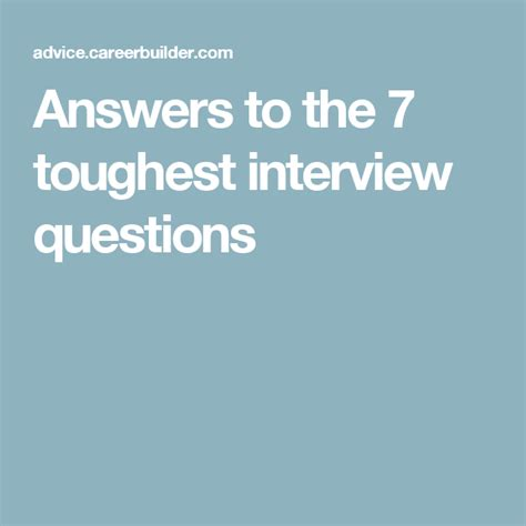 answers    toughest interview questions career advice tough interview questions