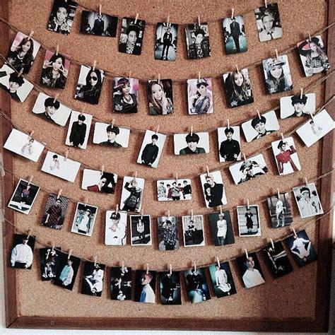 kpop theme ideas clothes pin photos kpop photocards room decoration