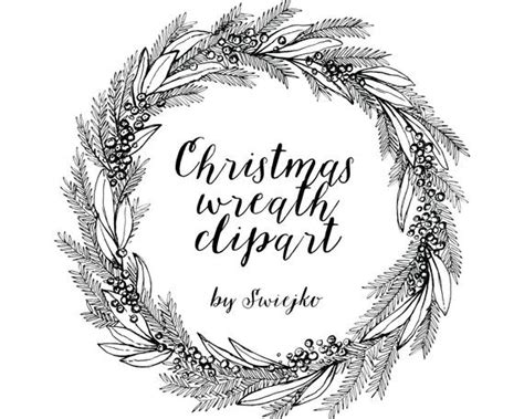 christmas wreath hand drawn clipart holiday wreat etsy