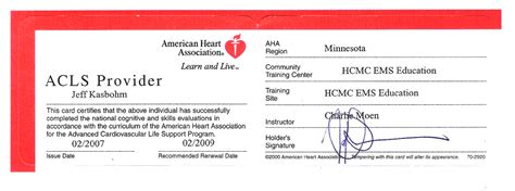 acls card template acls certification images