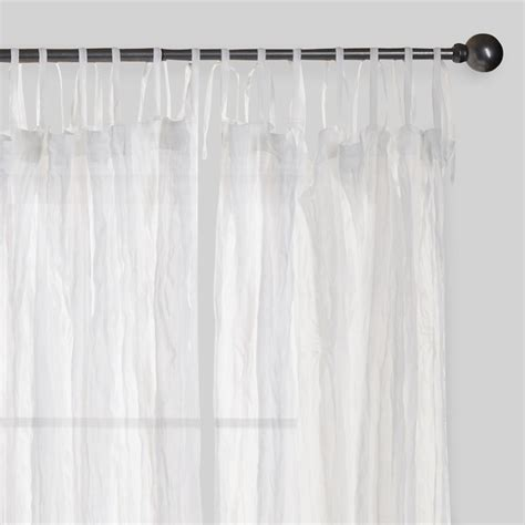 sheer cotton curtains white crinkle sheer voile cotton curtains set of 2