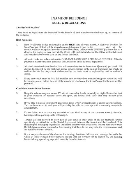 apartment building rules and regulations legal forms and