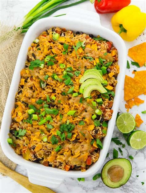 vegetarian mexican rice recipe easy vegan mexican rice casserole with tacos vegan heaven