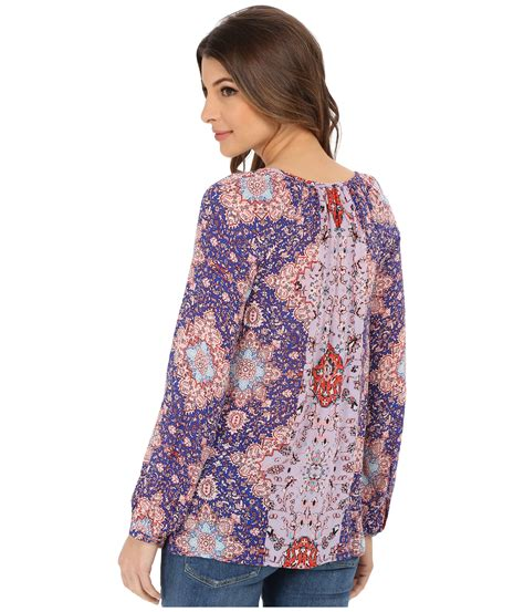 Lucky Brand Print Purple lucky brand printed peasant top in purple lyst