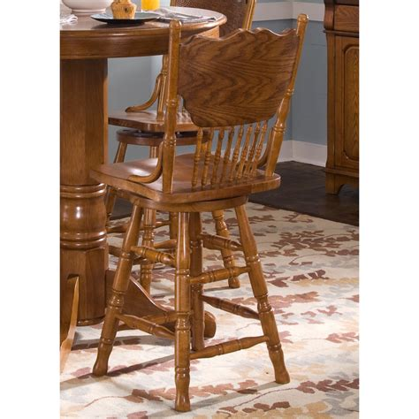Oak Bar Stools With Back by Shop Liberty Furniture Nostalgia Medium Oak Counter Stool