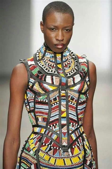beadwork fashion beadwork dress tribal afrocentric wear fashion