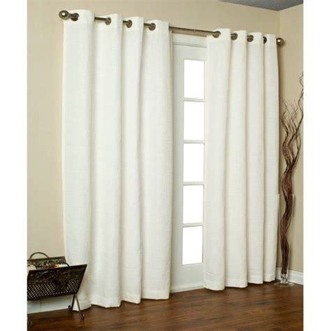 solid white curtain panels 84 quot long white cite solid color horizontal slub grommet