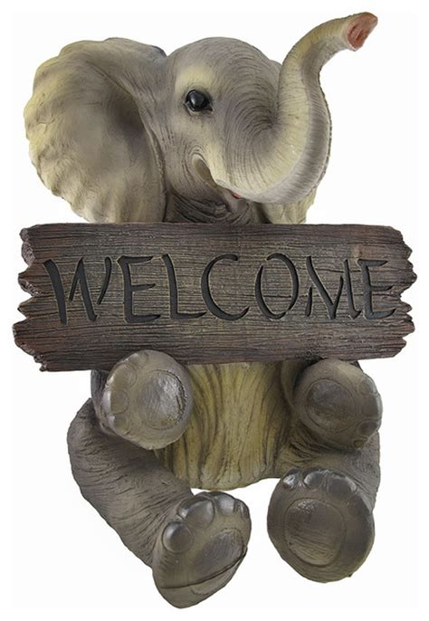 home decorators elephant her adorable pachy princess baby elephant welcome sign home decor traditional outdoor decor by