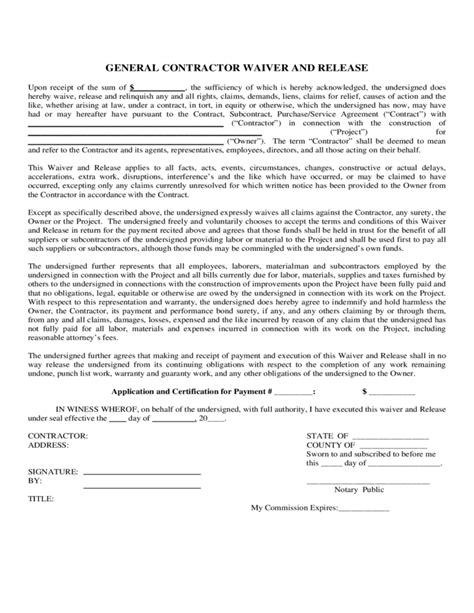 general contractor waiver and release form free download