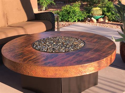 oriflamme gas fire pit table hammered copper natural