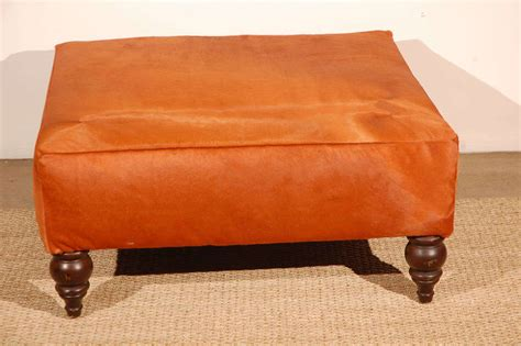 orange leather ottoman orange cowhide ottoman at 1stdibs
