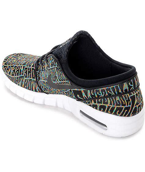 Nike Airmax Janoski Premium nike sb stefan janoski air max premium tripper black white multicolored shoes zumiez
