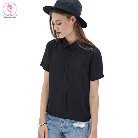 Black Blouse Sleeve Womens by Blouse Slim Blouses Chiffon Handsome