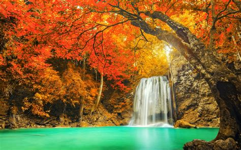 colorful landscapes landscape nature colorful waterfall trees fall