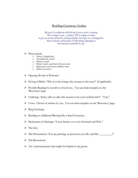 Wedding Ceremony Outline Wedding Officiant Stuff Pinte Wedding Ceremony List Template